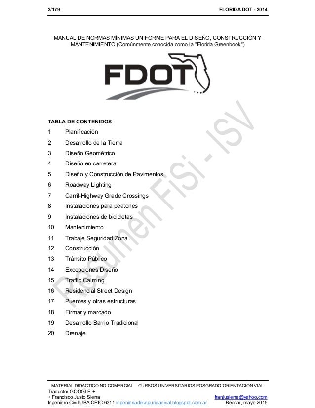 13 florida dot 2013 libro verde for Manual de diseno y construccion de albercas pdf