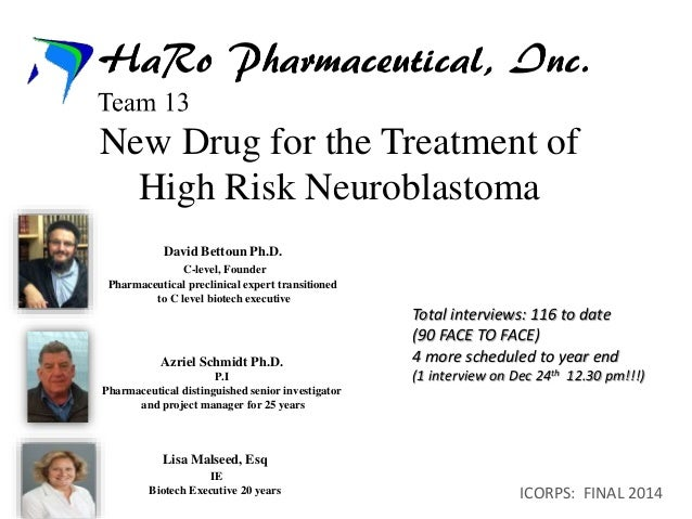 New Drug for the Treatment of  High Risk Neuroblastoma  Total interviews: 116 to date  (90 FACE TO FACE)  4 more scheduled...