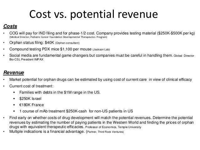 Cost vs. potential revenue  Costs  • COG will pay for IND filing and for phase-1/2 cost. Company provides testing material...