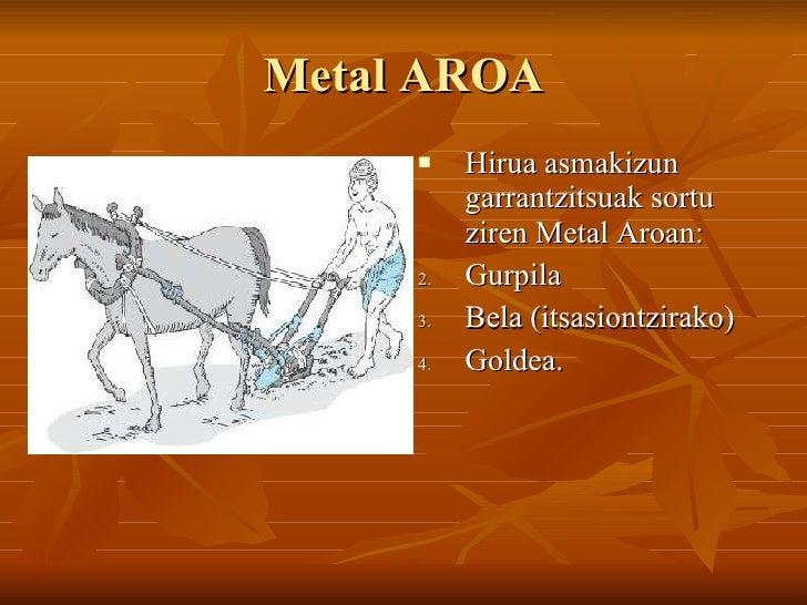 Metal AROA <ul><li>Hirua asmakizun garrantzitsuak sortu ziren Metal Aroan: </li></ul><ul><li>Gurpila </li></ul><ul><li>Bel...