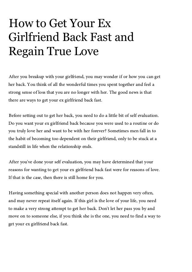 How to tell your ex you love her