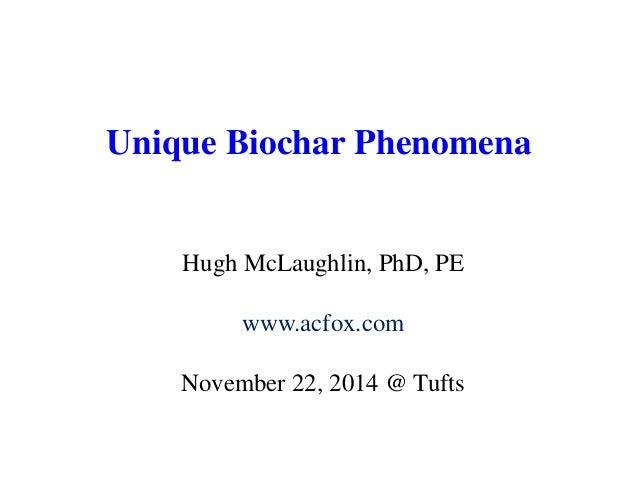 Unique Biochar Phenomena  Hugh McLaughlin, PhD, PE  www.acfox.com  November 22, 2014 @ Tufts