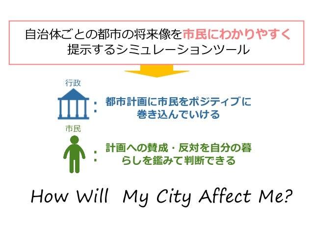 自治体ごとの都市の将来像を市民にわかりやすく 提示するシミュレーションツール 都市計画に市民をポジティブに 巻き込んでいける 計画への賛成・反対を自分の暮 らしを鑑みて判断できる 行政 市民 : : How Will My City Affec...