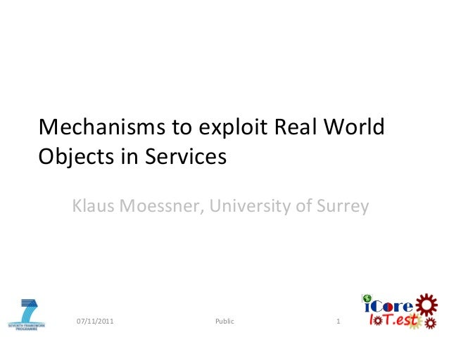 Mechanisms to exploit Real WorldObjects in ServicesKlaus Moessner, University of Surrey07/11/2011 Public 1
