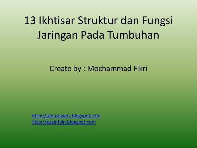 13 Ikhtisar Struktur dan Fungsi Jaringan Pada Tumbuhan Create by : Mochammad Fikri  Http://seo-powers.blogspot.com Http://...