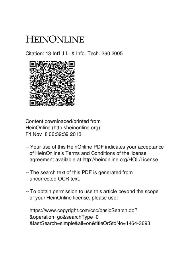 Citation: 13 Int'l J.L. & Info. Tech. 260 2005  Content downloaded/printed from HeinOnline (http://heinonline.org) Fri Nov...