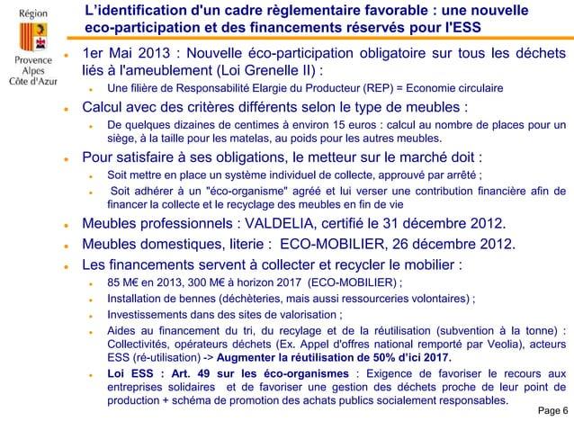 L'identification d'un cadre règlementaire favorable : une nouvelle eco-participation et des financements réservés pour l'E...