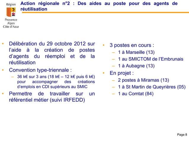 Action régionale n°2 : Des aides au poste pour des agents de réutilisation • Délibération du 29 octobre 2012 sur l'aide à ...