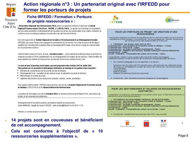 Action régionale n°3 : Un partenariat original avec l'IRFEDD pour former les porteurs de projets Fiche IRFEDD / Formation ...