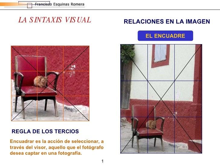 RELACIONES EN LA IMAGEN LA SINTAXIS VISUAL EL ENCUADRE REGLA DE LOS TERCIOS Encuadrar es la acción de seleccionar, a travé...