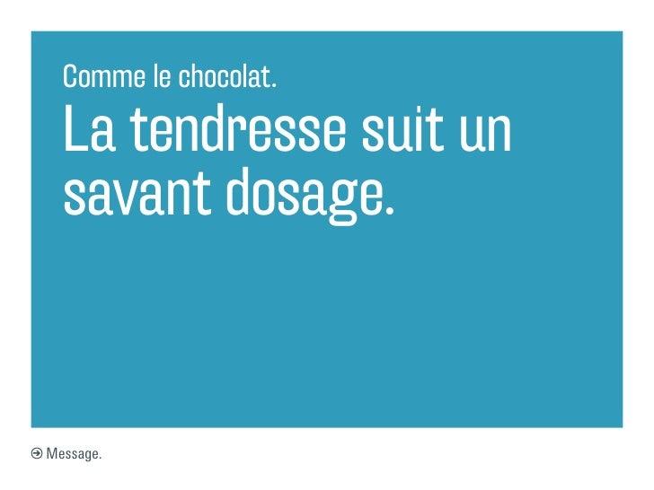 Comme le chocolat.  La tendresse suit un  savant dosage.Message.