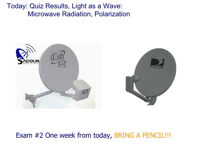 Today: Quiz Results, Light as a Wave: Microwave Radiation, Polarization <ul><li>Exam #2 One week from today,  BRING A PENC...