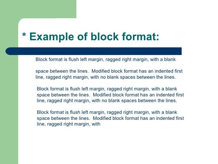block format example