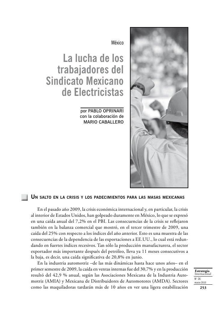 México                La lucha de los            trabajadores del         Sindicato Mexicano             de Electricistas ...