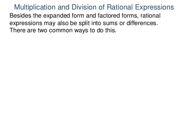 13 Multiplication And Division Of Rational Expressions