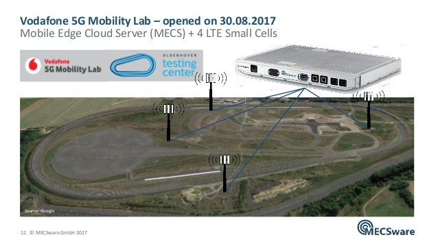 12 © MECSware GmbH 2017 Vodafone 5G Mobility Lab – opened on 30.08.2017 Mobile Edge Cloud Server (MECS) + 4 LTE Small Cell...