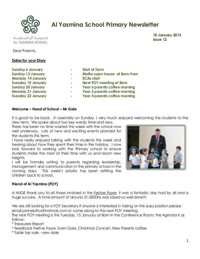 Al Yasmina School Primary Newsletter                                                                                    10...