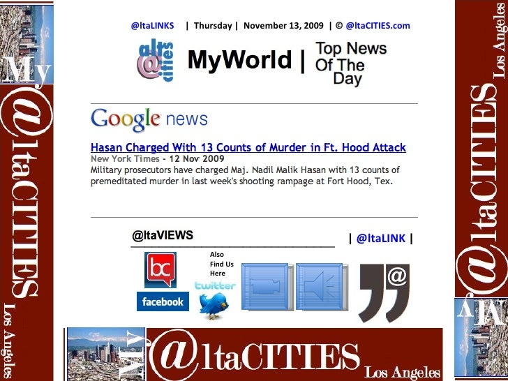 @ltaLINKS        Thursday    November 13, 2009    ©  @ltaCITIES.com Also Find Us Here    @ ltaLINK    ____________________...