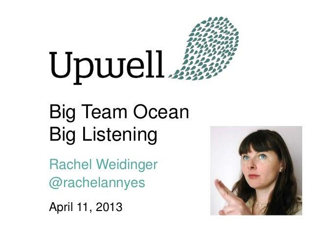 Big Team OceanBig ListeningRachel Weidinger@rachelannyesApril 11, 2013