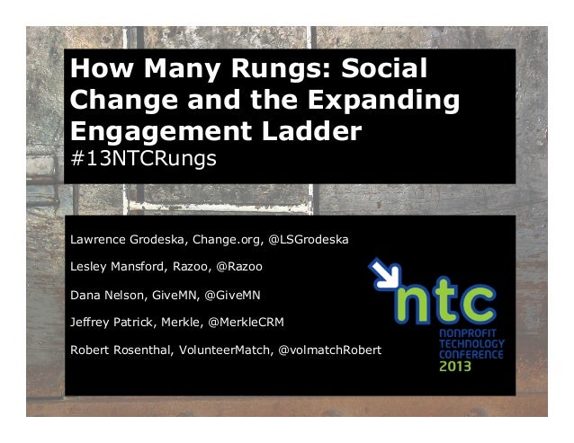 How Many Rungs: SocialChange and the ExpandingEngagement Ladder#13NTCRungsLawrence Grodeska, Change.org, @LSGrodeskaLesley...