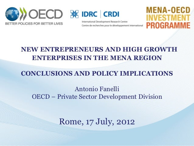NEW ENTREPRENEURS AND HIGH GROWTH ENTERPRISES IN THE MENA REGION CONCLUSIONS AND POLICY IMPLICATIONS Antonio Fanelli OECD ...