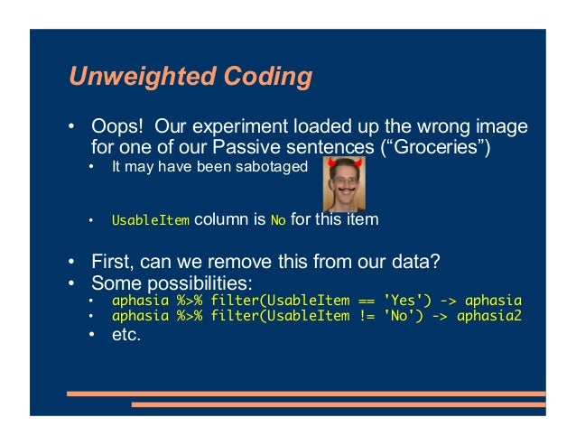 """Unweighted Coding • Oops! Our experiment loaded up the wrong image for one of our Passive sentences (""""Groceries"""") • It may..."""