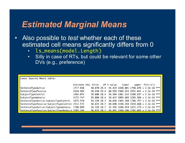 Estimated Marginal Means • Also possible to test whether each of these estimated cell means significantly differs from 0 •...