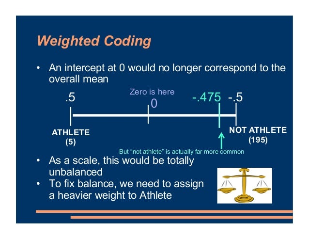 Weighted Coding • An intercept at 0 would no longer correspond to the overall mean • As a scale, this would be totally unb...