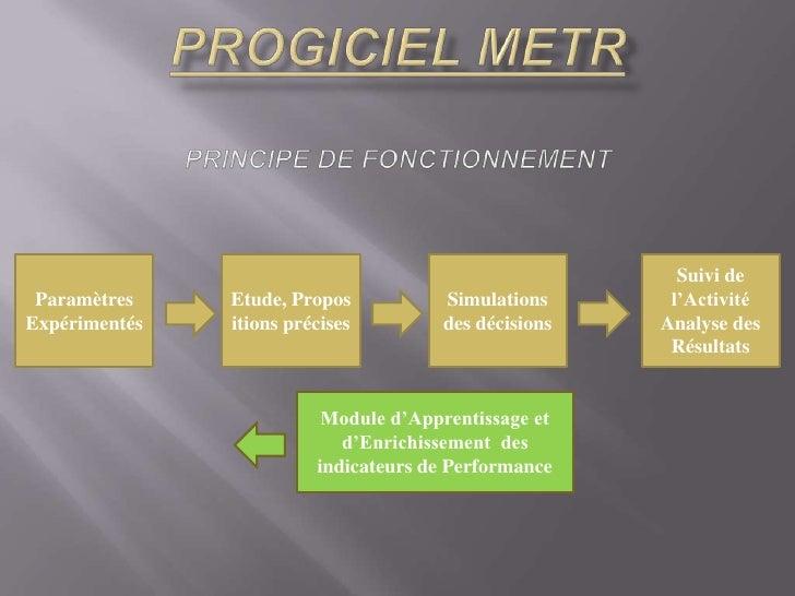 PROGICIEL METRprincipe de fonctionnement<br />ParamètresInitiaux<br />Etude, Propositions précises<br />Simulations des dé...