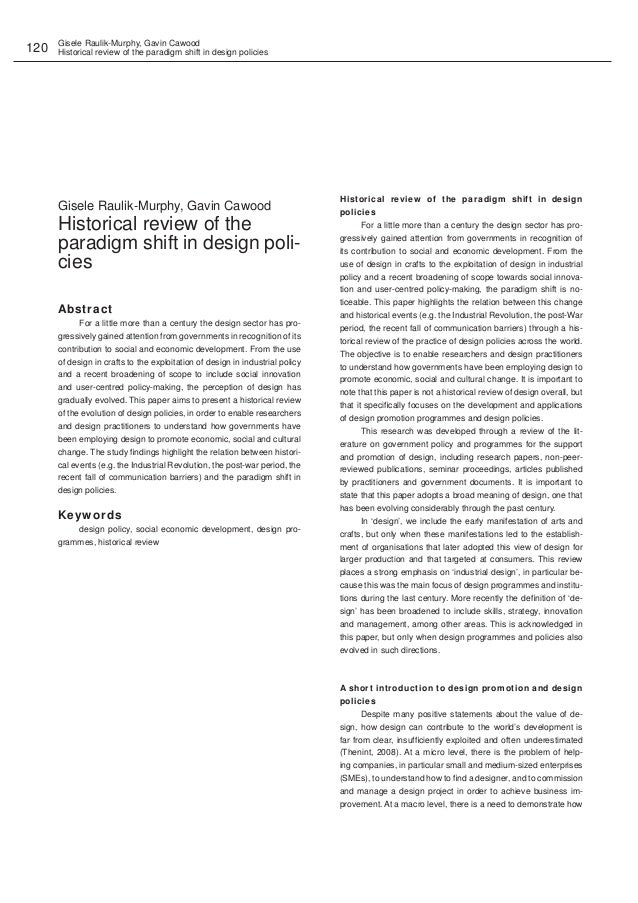 Gisele Raulik-Murphy, Gavin Cawood Historical review of the paradigm shift in design policies120 Gisele Raulik-Murphy, Gav...