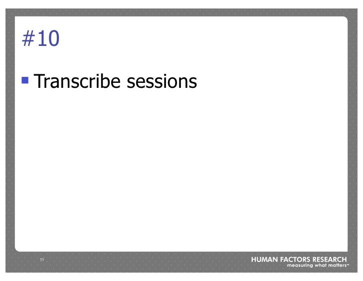#10 !   Transcribe sessions         11
