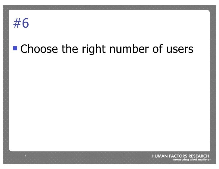 #6 !   Choose the right number of users         7