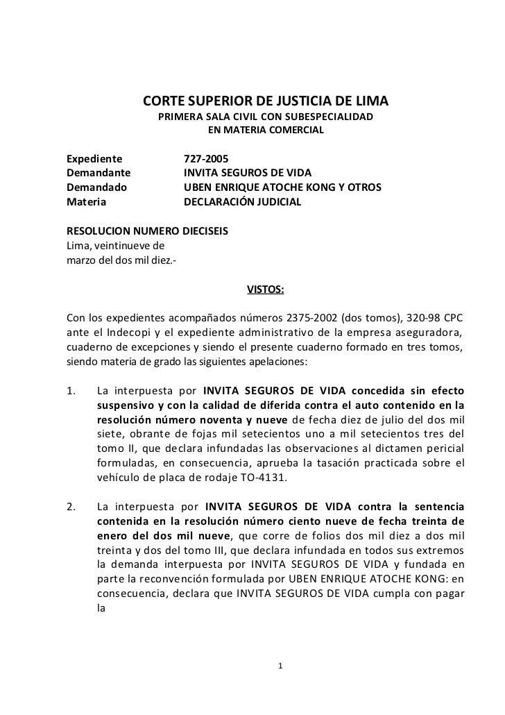 CORTE SUPERIOR DE JUSTICIA DE LIMA                 PRIMERA SALA CIVIL CON SUBESPECIALIDAD                         EN MATER...