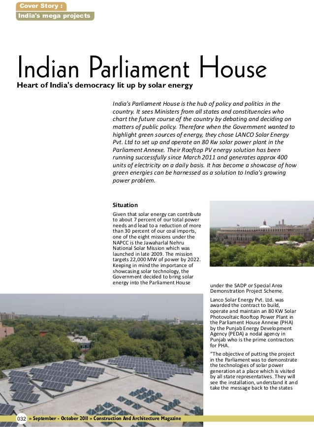 Cover Story : India's mega projects  Indian Parliament House Heart of India's democracy lit up by solar energy  India's Pa...