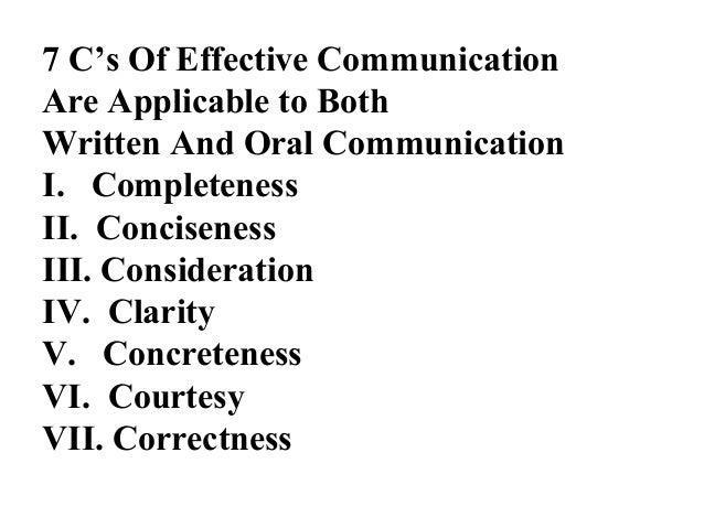 13 slides on seven cs of effective business communication