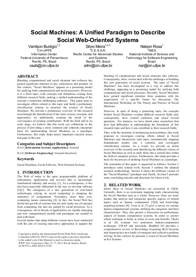 Social Machines: A Unified Paradigm to DescribeSocial Web-Oriented SystemsVanilson Burégio1,31CIn-UFPEInformatics CenterFe...