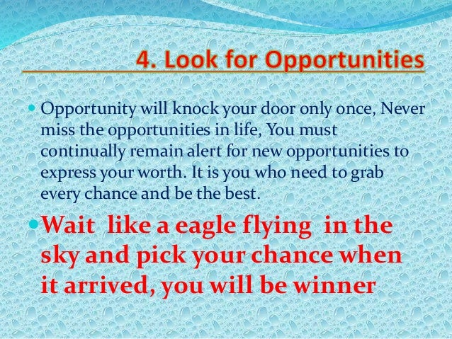 your life chances and opportunities Life chances (lebenschancen in  he argued that life chances are opportunities and possibilities  it can also affect your life conduct by making you think that.