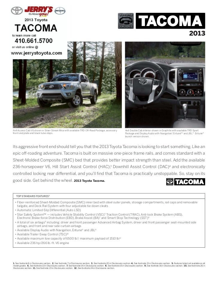 20134x4 Access Cab V6 shown in Silver Streak Mica with available TRD Off-Road Package, accessory                          ...