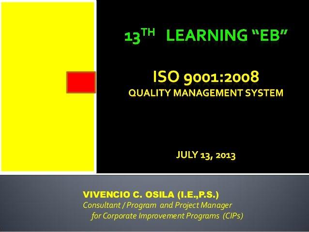 VIVENCIO C. OSILA (I.E.,P.S.) Consultant / Program and Project Manager for Corporate Improvement Programs (CIPs)