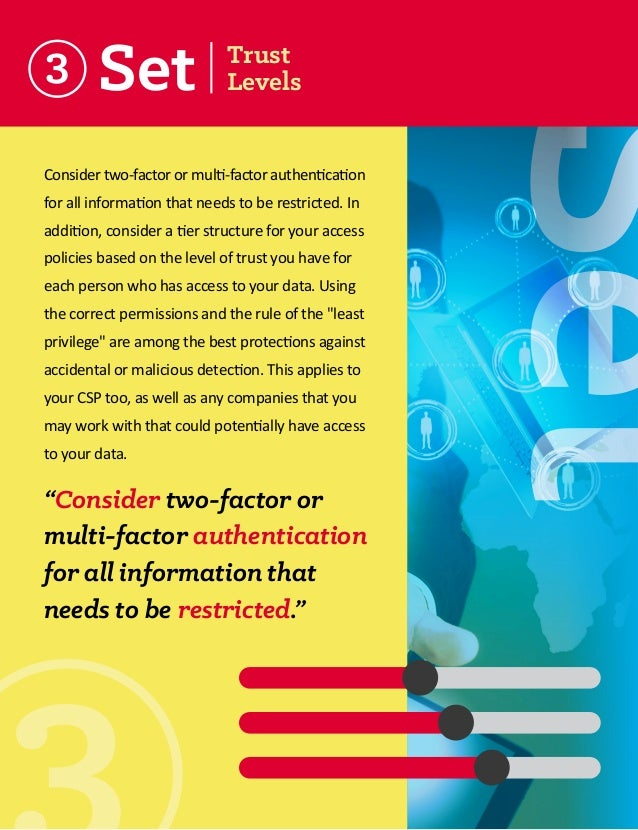 3  Consider two-factor or multi-factor authentication for all information that needs to be restricted. In addition, consid...