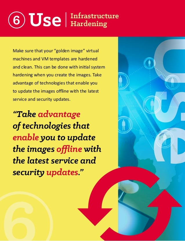 """6  Make sure that your """"golden image"""" virtual machines and VM templates are hardened and clean. This can be done with init..."""