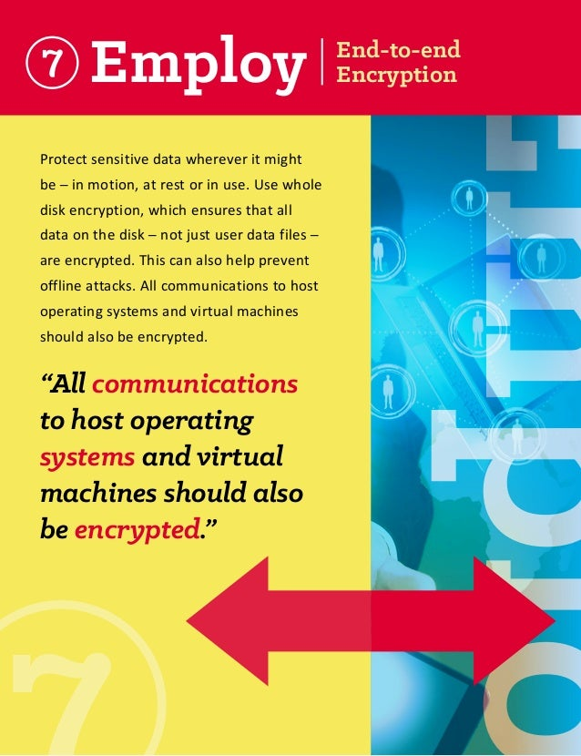 Employ  Protect sensitive data wherever it might be ─ in motion, at rest or in use. Use whole disk encryption, which ensur...