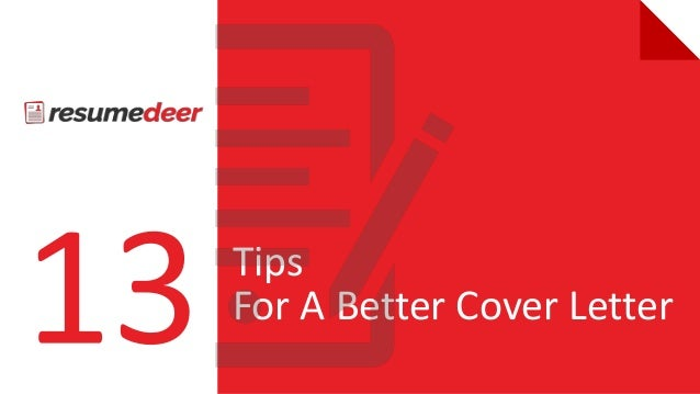 13Tips For A Better Cover Letter Ppt New