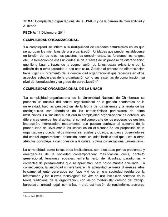 TEMA: Complejidad organizacional de la UNACH y de la carrera de Contabilidad y  Auditoría  FECHA: 11 Diciembre, 2014  COMP...