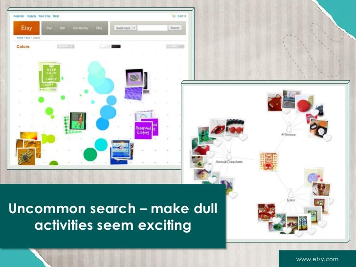 Uncommon search – make dull   activities seem exciting                              www.etsy.com