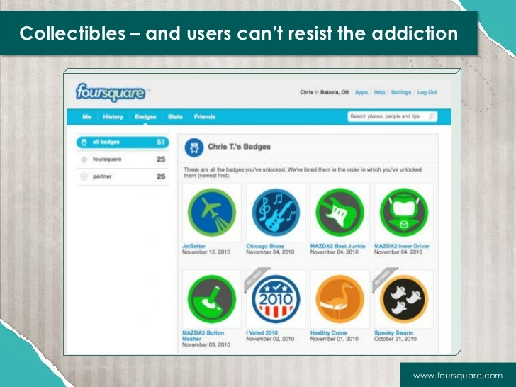 Collectibles – and users can't resist the addiction                                             www.foursquare.com
