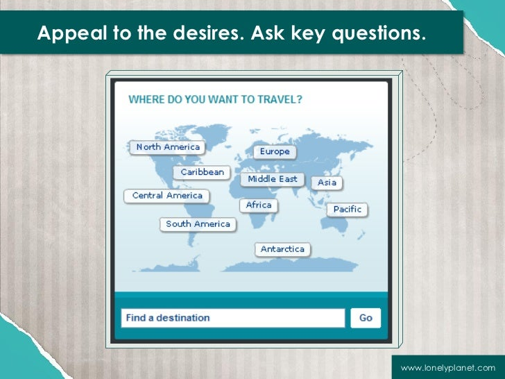 Appeal to the desires. Ask key questions.                                      www.lonelyplanet.com