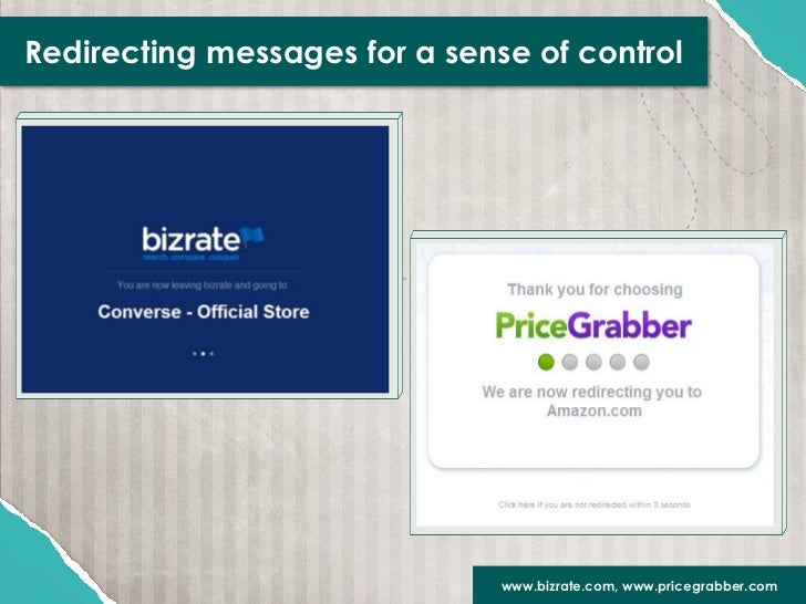 Redirecting messages for a sense of control                               www.bizrate.com, www.pricegrabber.com