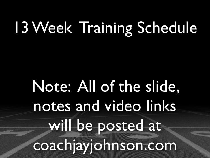13 Week Training Schedule  Note: All of the slide,  notes and video links    will be posted at  coachjayjohnson.com