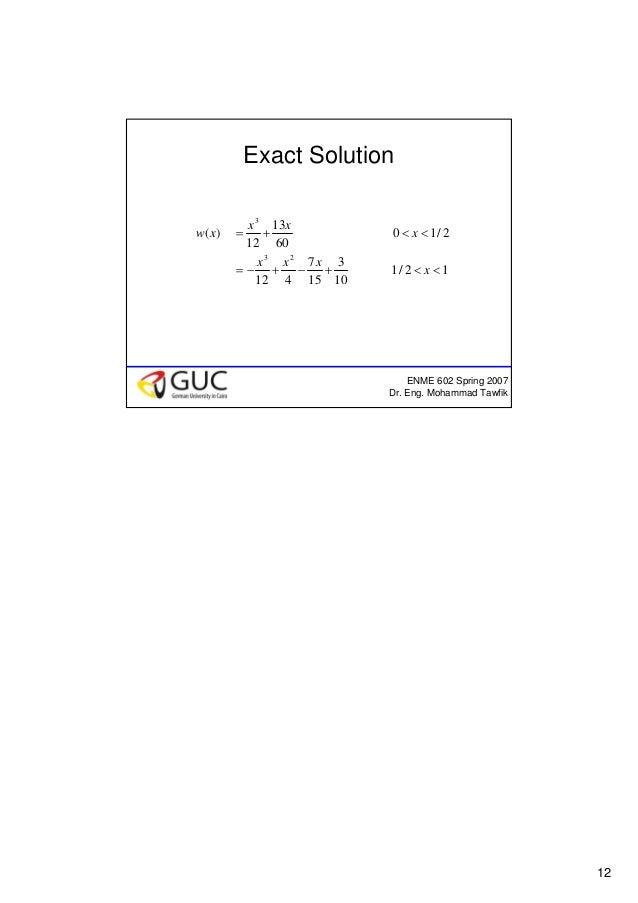 12 ENME 602 Spring 2007 Dr. Eng. Mohammad Tawfik Exact Solution 12/1 10 3 15 7 412 2/10 60 13 12 )( 23 3 <<+−+−= <<+= x xx...